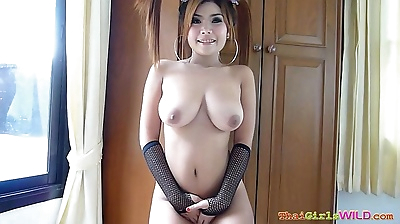 Big breasted cutie stips and..