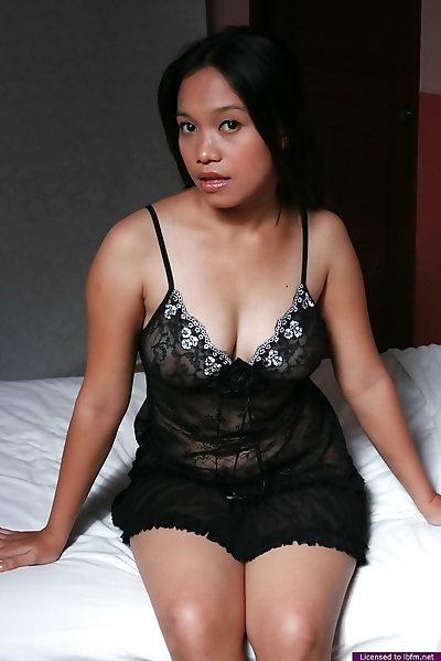 Plump Asian girl sheds lace..