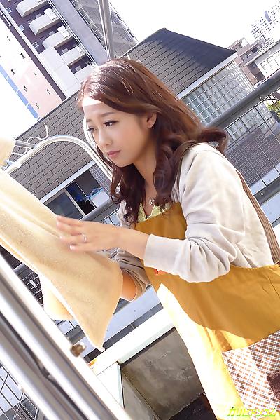 Tasty japanese teen tart filling her twat with hot jizz - part 4249