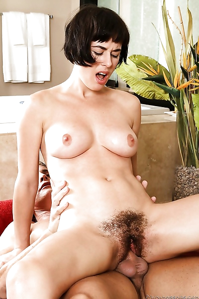 Masseuse Coco gives titjob with oiled boobs & fucks cowgirl showing hairy muff