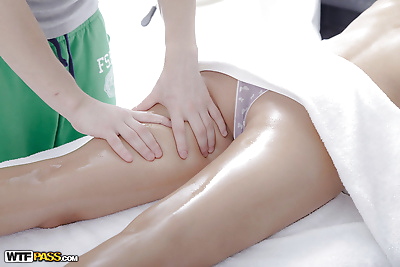 Oriental spinner Miranda licking cock with pierced tongue after massage