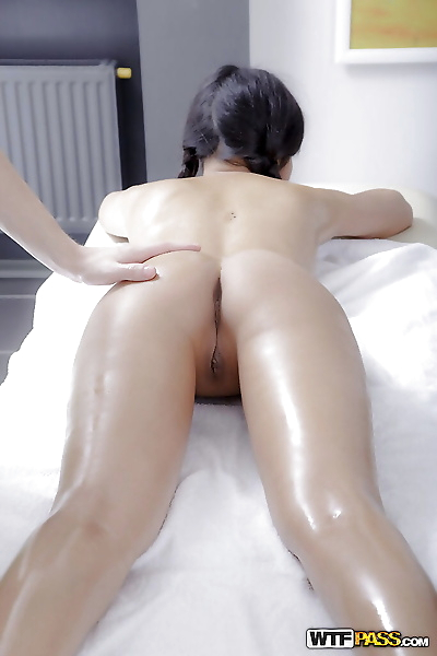 Petite Asian sweetie Miranda enjoys hot oil massage before before sex